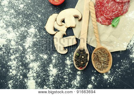 Food ingredients for cooking on wooden background