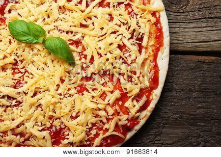 Raw pizza close up