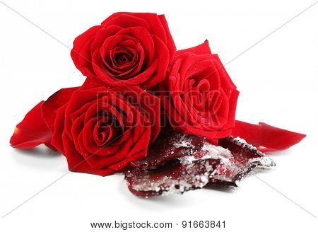 Candied sugared roses petals and fresh roses, isolated on white