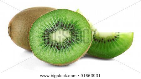 Juicy kiwi fruit isolated on white