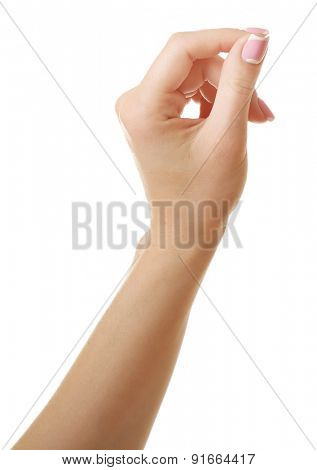 Female hand isolated on white