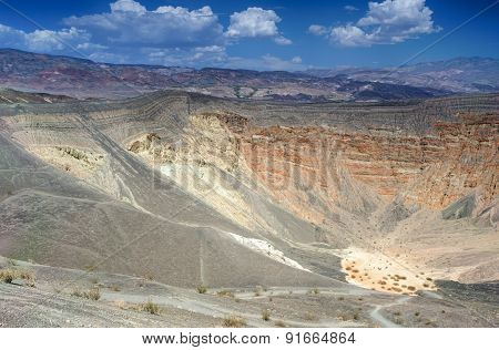 Geological Formations In Ubehebe Volcano In Death Valley National Park. The Crater Is Estimated From