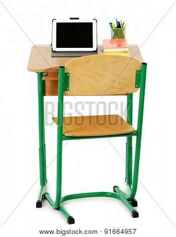 Wooden desk with stationery and tablet and chair isolated on white