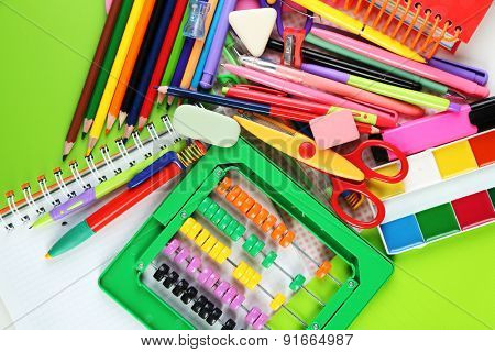 School stationery close-up background