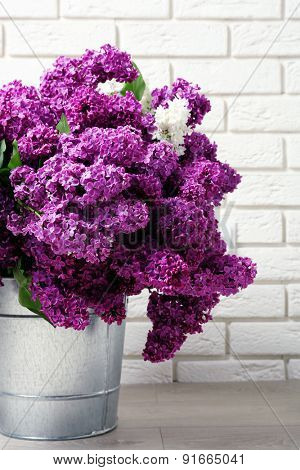 Beautiful lilac flowers in room close-up