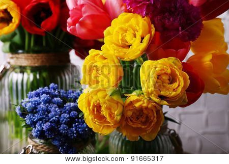 Beautiful spring flowers close up