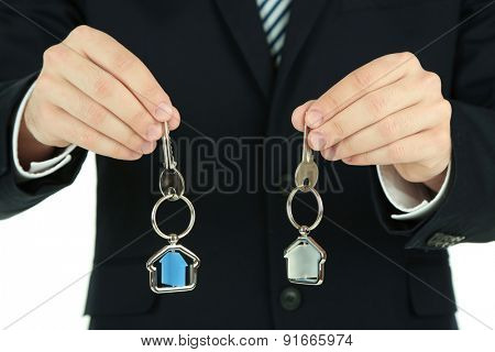 Hands with keys, closeup