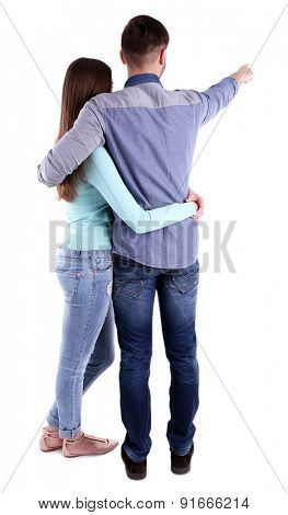 Back view of young couple isolated on white