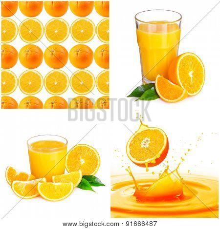 Collage of images with orange