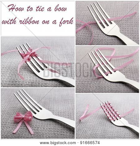 Stages of tying bow on fork close-up