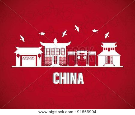 China design over red background vector illustration