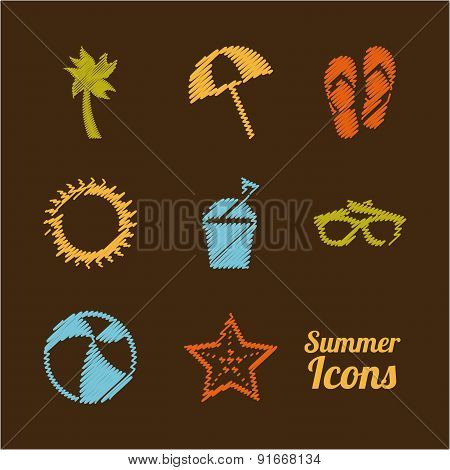 Summer design over brown background vector illustration