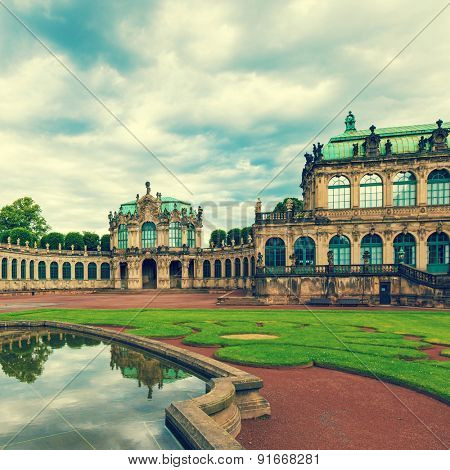 Zwinger Rococo style palace in Dresden. Toned photo