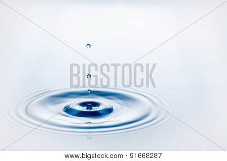 Drop of water falling on water level