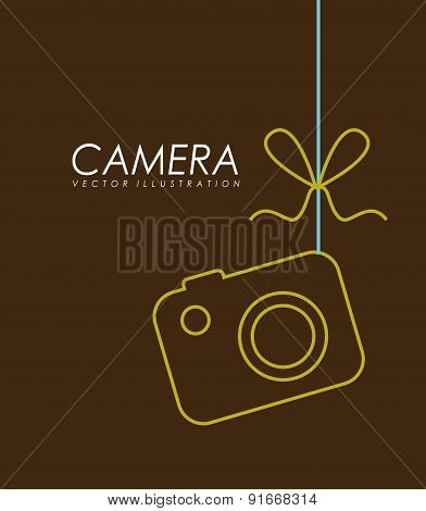 Camera design over brown background vector illustration