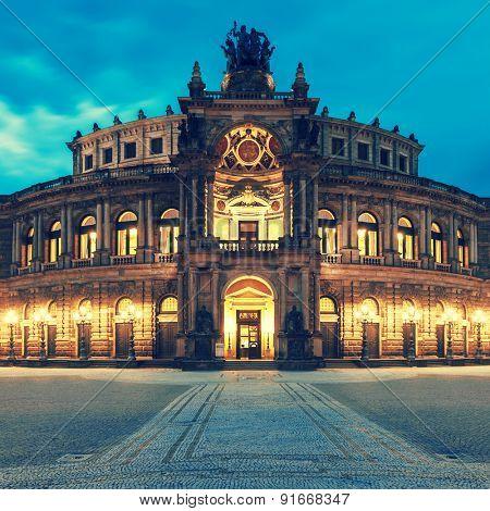 Dresden opera theater. Germany. Toned photo