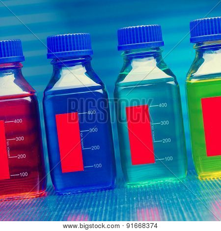 set of of food colorants, food additives, toned photo