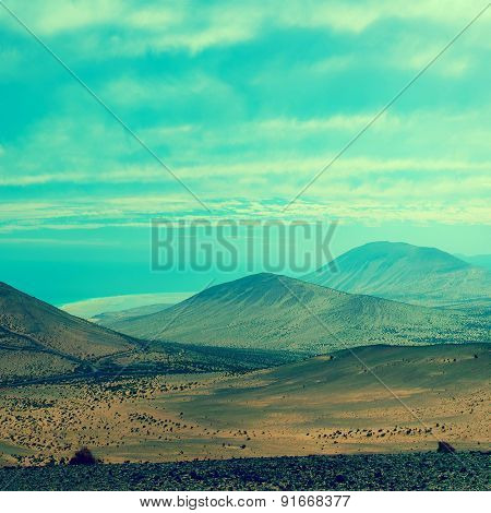 Mountain chain at sunset, Fuerteventura, Canary Islands, Spain. Toned photo