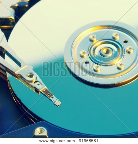 Open HDD disk, toned photo
