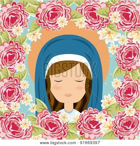 Holy Mary design over floral background vector illustration
