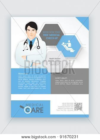 Creative flyer with illustration of a young doctor for Medical Care, can be used as template or brochure design.