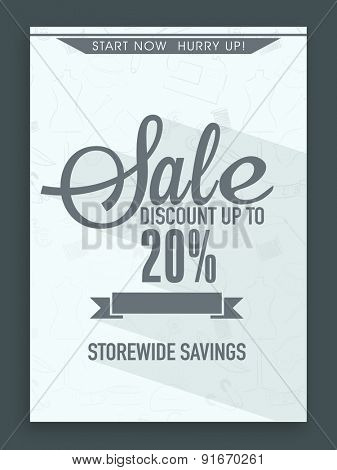 Sale flyer, banner or template with best savings and discount offer.