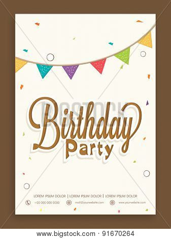 Birthday party celebration invitation card or greeting card design.