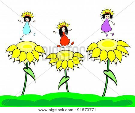 Happy kids on sunflower
