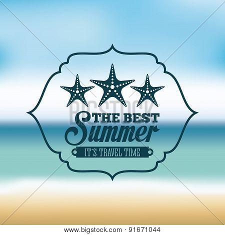 Summer design over blur background vector illustration