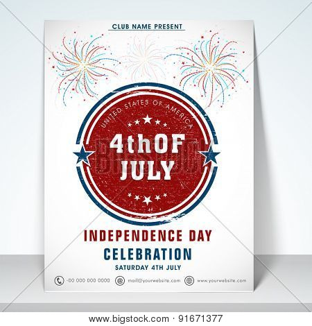 Shiny Invitation card decorated with fireworks and stylish text 4th of July for American Independence Day celebration.