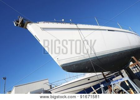 Close-up of a yacht in dry dock. Lisbon, Portugal.