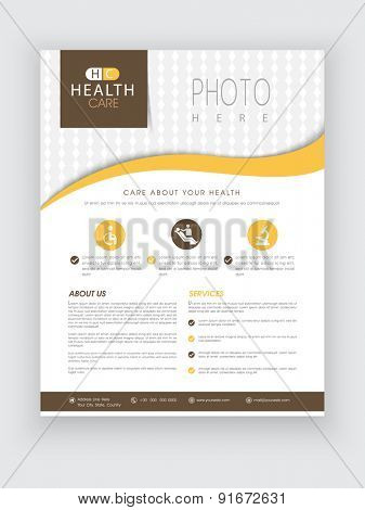Health Care flyer with medical icons and proper place holder for image and content, can be used as template, poster or brochure.