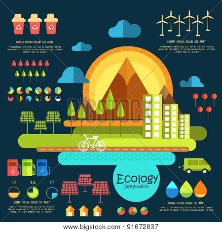 Ecology infographic elements with city view and various statistical graphs and charts.