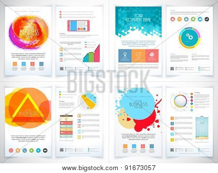 Set of colorful professional flyers or banners for your business reports presentation.
