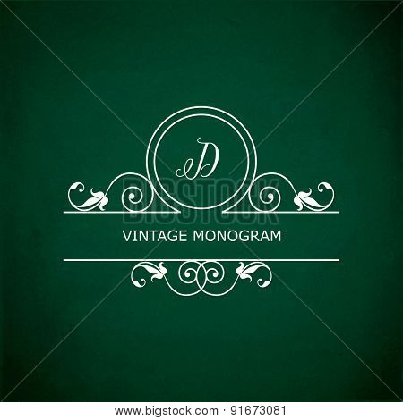 Monogram of the letter D, in retro floral style on green chalkboard background. EPS10 vector format