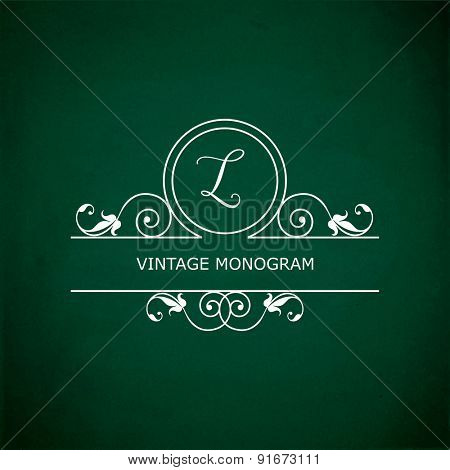 Monogram of the letter L, in retro floral style on green chalkboard background. EPS10 vector format