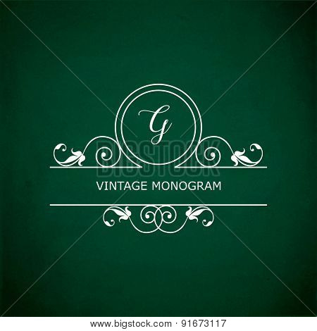 Monogram of the letter G, in retro floral style on green chalkboard background. EPS10 vector format