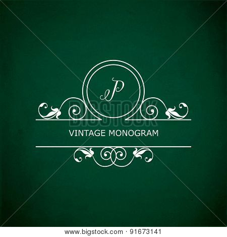 Monogram of the letter P, in retro floral style on green chalkboard background. EPS10 vector format