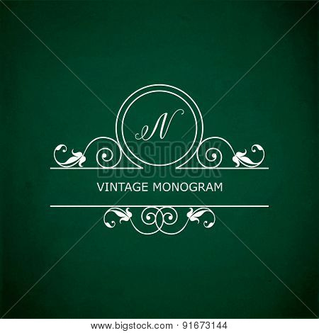 Monogram of the letter N, in retro floral style on green chalkboard background. EPS10 vector format