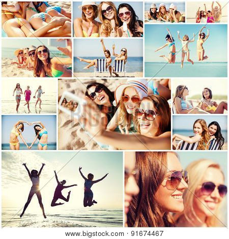 summer holidays and vacation concept - collage of many pictures with pretty girls having fun on the beach and taking selfie