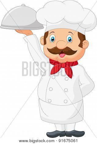 Cartoon Chef Serving Food In A Sliver Platter