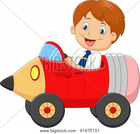 Cartoon boy driving a pencil car