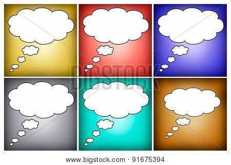 Colorful mosaic thought bubbles blank for text