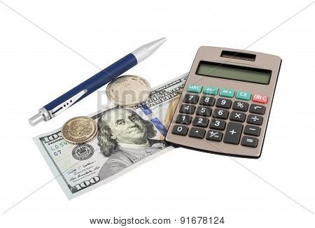 Coin With Pen And Calculator