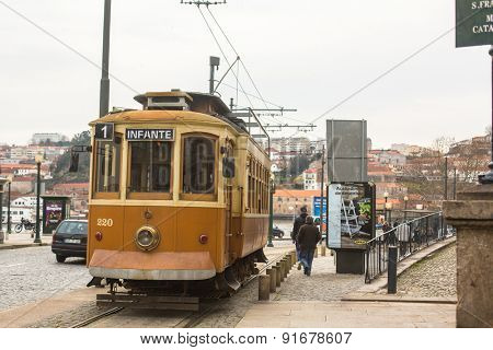 PORTO, PORTUGAL - CIRCA FEB, 2015: Heritage tram tourist line on the shores of the Douro. Construction its tram network started in Sep 12 1895, therefore being the first in the Iberian Peninsula.