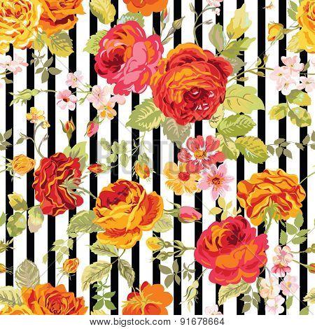 Vintage Floral Background - seamless pattern for design, print, scrapbook - in vector