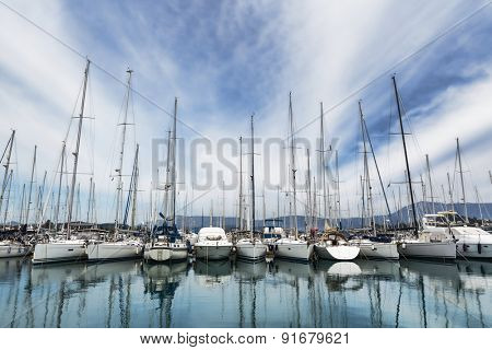 Boat harbor in Gouvia, Corfu, Greece