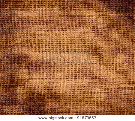Grunge background of copper burlap texture