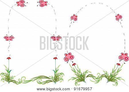 vector plant and butterfly with border