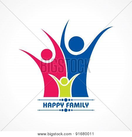 Stylish  Happy Family Greeting with people stock vector